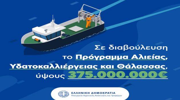 Σπ. Λιβανός: «375 εκ. ευρώ για το Πρόγραμμα Αλιείας Υδατοκαλλιέργειας και Θάλασσας»