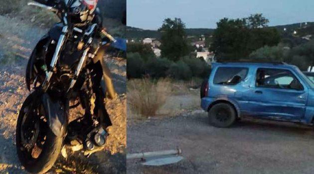 Θέρμο: Σφοδρή σύγκρουση μηχανής με Ι.Χ. αυτοκίνητο (Photos)