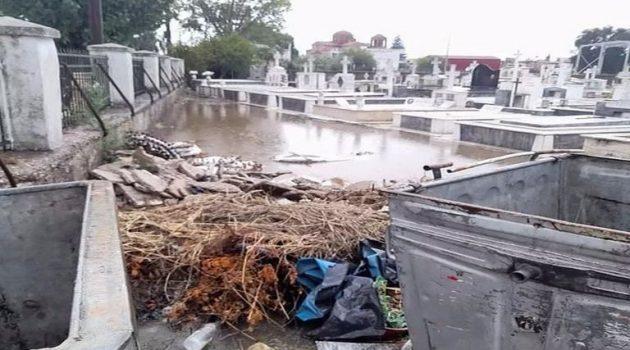 Πλημμύρισε το κοιμητήριο Νεοχωρίου