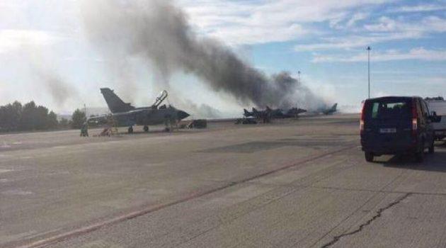 Πυρκαγιά στο Στρατιωτικό Αεροδρόμιο του Αράξου